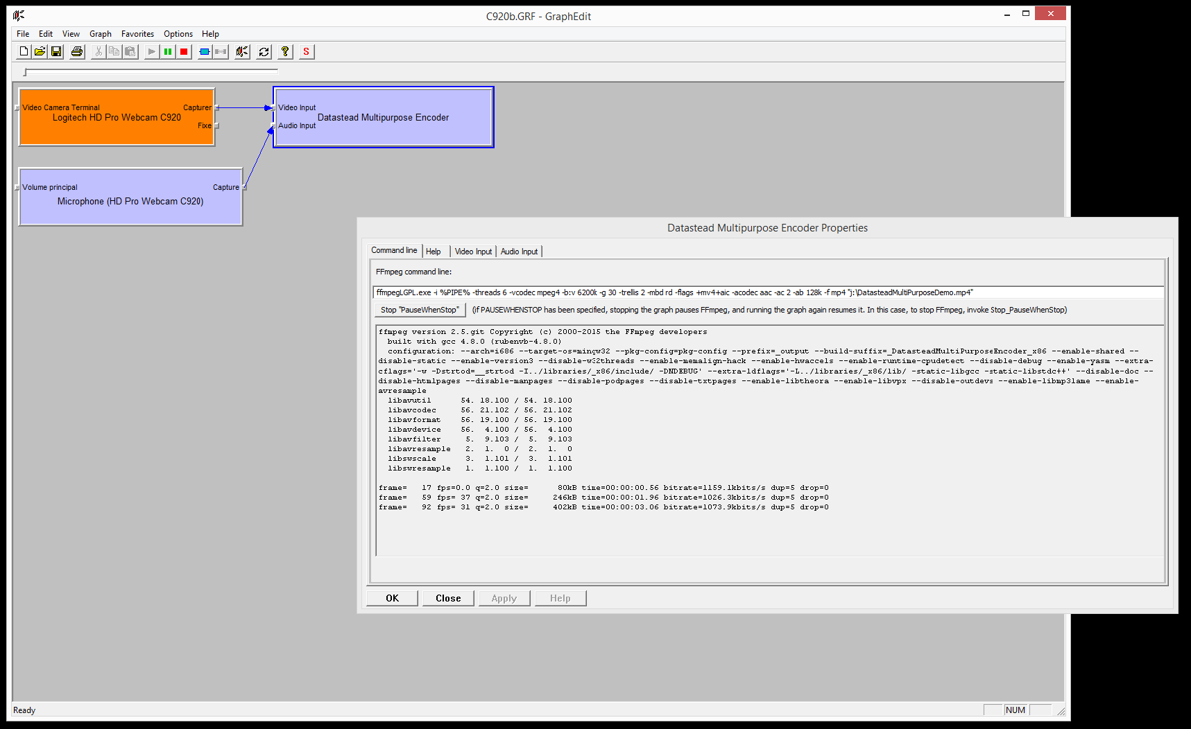 DirectShow capture to FFmpeg exe